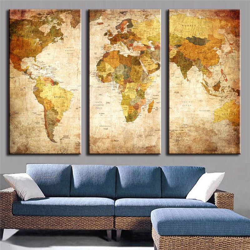 World Map 3 Piece Panel Art - BigWallPrints.com