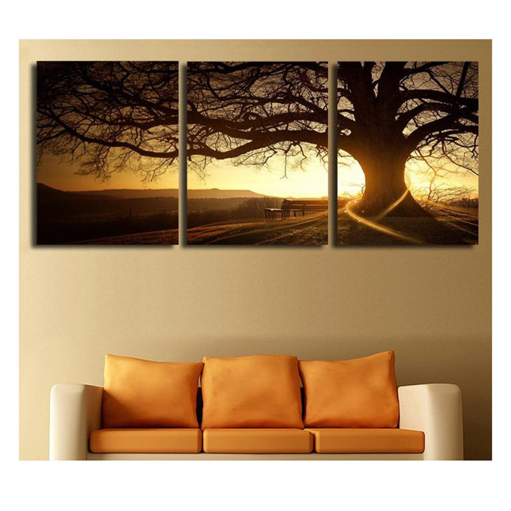 Tree in the Sunset - 3 Piece Panel Art - BigWallPrints.com - 2