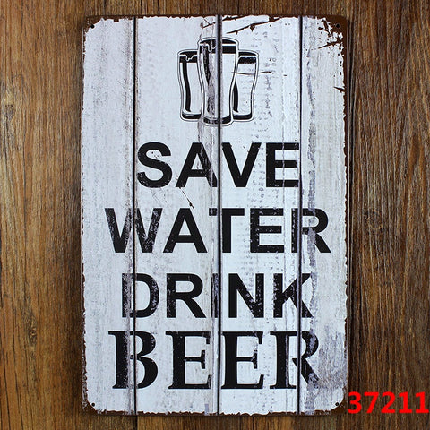 Save Water, Drink Beer Metal Pub Sign - BigWallPrints.com