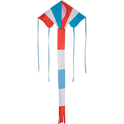 High Flying, Delta Shaped Kite, Blue, Red, White Stripped - 42-inch. Includes 100 ft string and handle