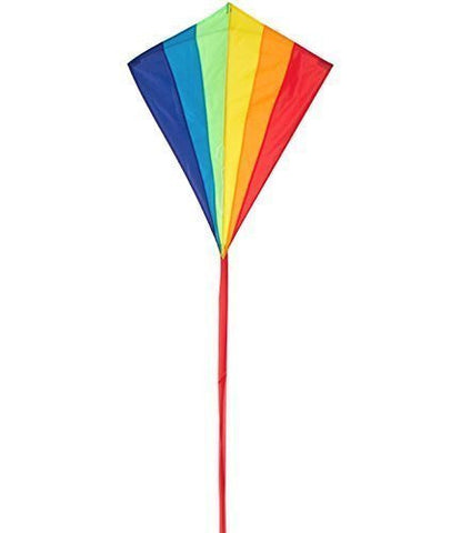 Rainbow 28-Inch Diamond Kite, Durable Polyester Fabric, Easy Flyer - Incudes 100-foot String and Handle