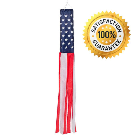 60-inch American Flag Windsock. Full-length (5 Feet) Stars and Stripes Windsocks -- Includes Hanging Clip.