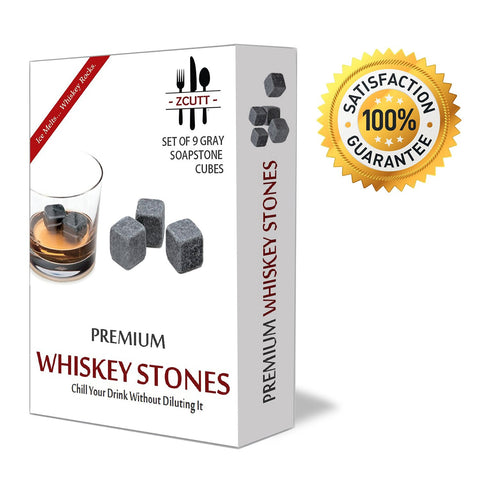 Premium Whiskey (Set of 9). 100% Pure Soapstone -- Includes Gift Box and Carrying Pouch