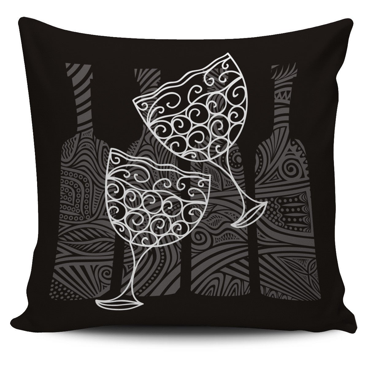 Wine Glass Pillow Cover
