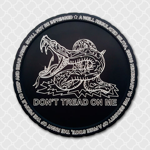 Don't Tread On Me Ver2, Diplidz, snuff can lids, tobacco can lid, copenhagen, skoal cowboy, rodeo, horse, chewing tobacco dip can, engraved snuff lids, custom engraved tobacco lids, snuff lids, hunting, fishing, western