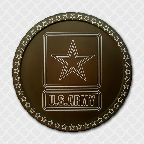 U.S. Army, Diplidz, snuff can lids, tobacco can lid, copenhagen, skoal cowboy, rodeo, horse, chewing tobacco dip can, engraved snuff lids, custom engraved tobacco lids, snuff lids, hunting, fishing, western