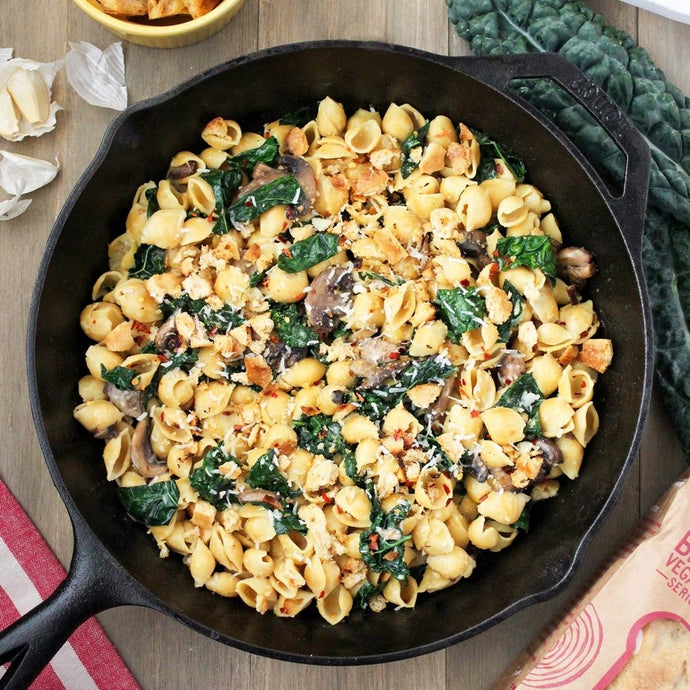 GLUTEN-FREE CHICKPEA PASTA WITH BREAD CRUMBS, KALE, AND MUSHROOMS