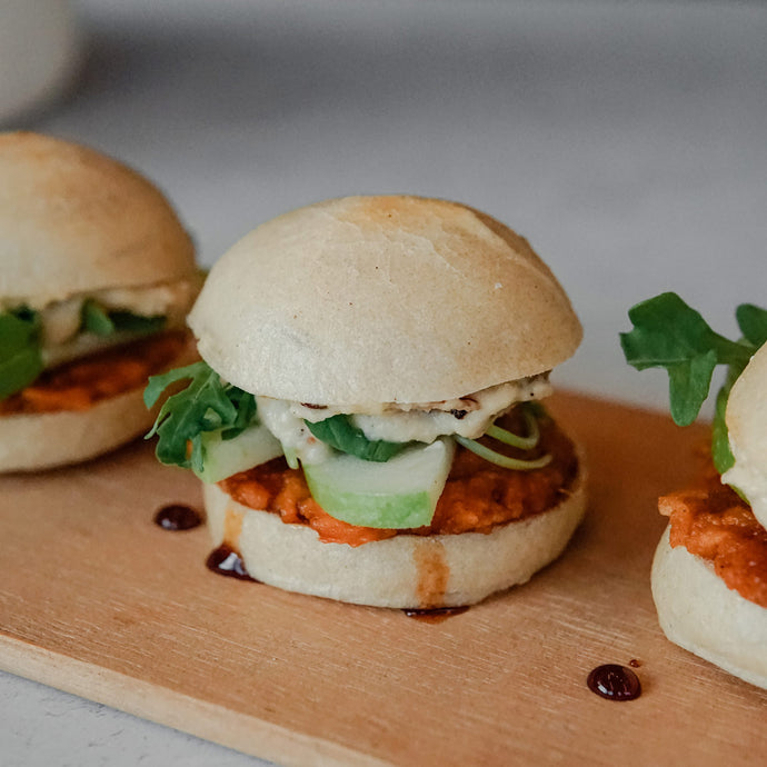 Gluten-Free Sweet Potato Sliders w/ Fig and Caramelized Onion Cashew Cheese