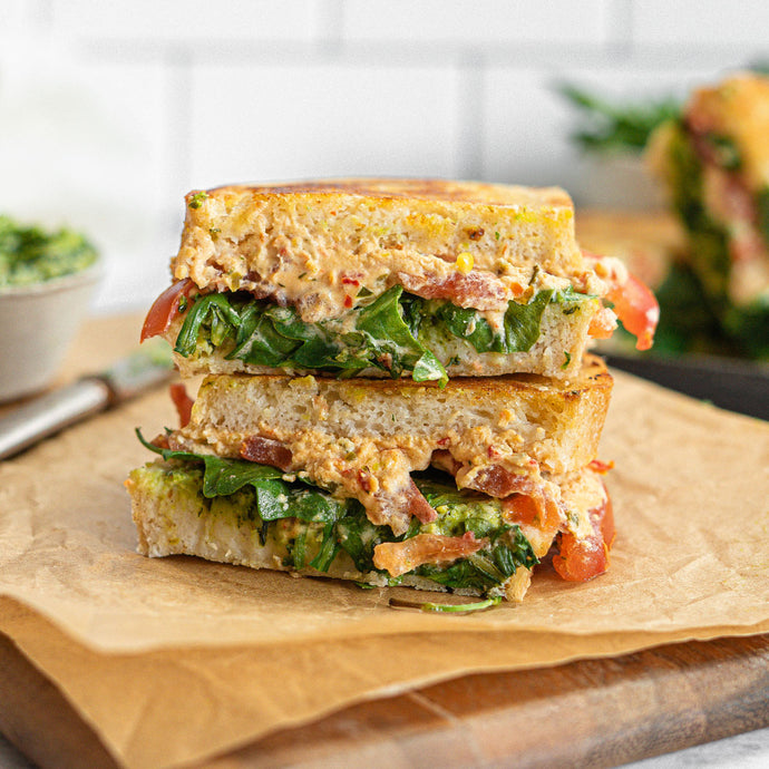 GF Sun-Dried Tomato & Basil Goat Cheese Grilled Cheese