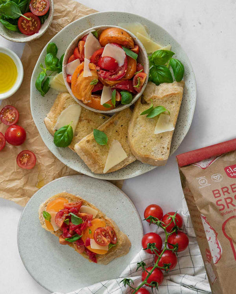 Gluten-Free Sourdough Toast with Bruschetta and Fresh Tomatoes and Basil