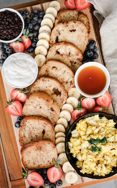 French Toast Breakfast Board with toppings and sides
