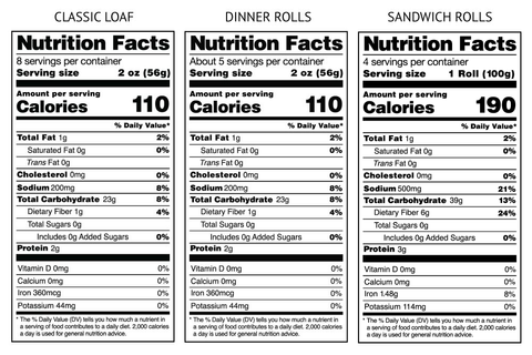 Gluten-Free Loaves + Rolls Sampler Nutrition Facts