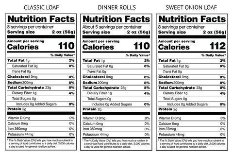 Gluten-Free Sweet + Sourdough Pack Nutrition Facts