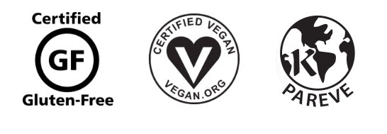 Certified Gluten-Free by GFCO, Certified Vegan by Vegan.org, Certified Kosher Logos