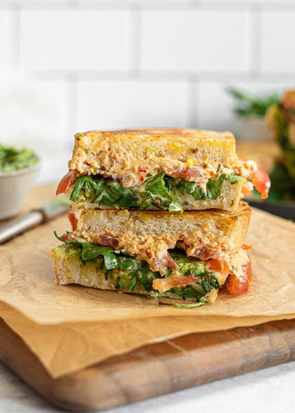 Gluten-Free Sun-Dried Tomato Basil Goat Cheese Grilled Cheese Sandwich
