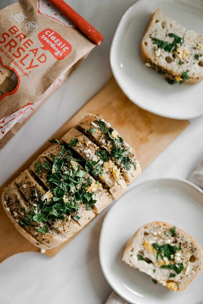 Grilled Gluten-Free Garlic Bread on a table