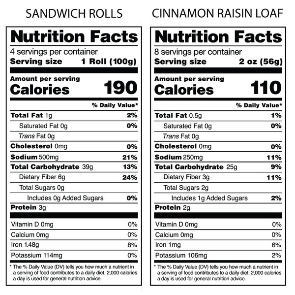 Nutrition Facts Label for Bread SRSLY Gluten-Free Sourdough Sandwich Rolls and Nutrition Facts Label for Bread SRSLY Cinnamon Raisin Gluten-Free Sourdough
