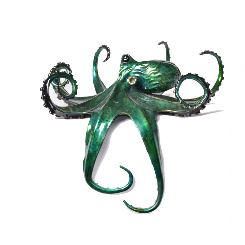 Aquamarine bronze octopus by Chris Barela