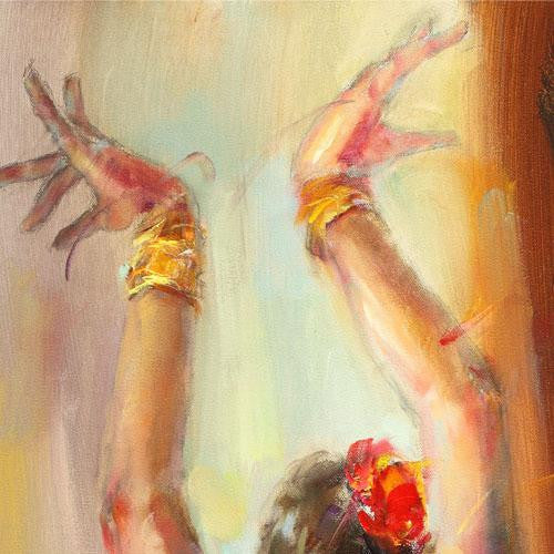 Blue Flamenco Oil Painting by Anna Razumovskaya