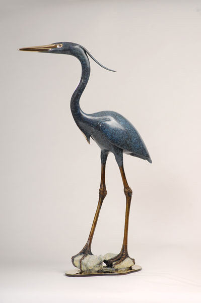Blue Heron in Everglades bronze by Brian Arthur