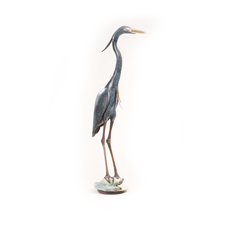 Blue Heron in Marsh I bronze by Brian Arthur