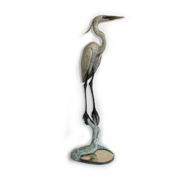 Blue Heron in Marsh II bronze by Brian Arthur