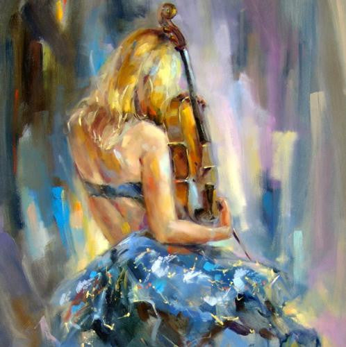 Dancing with a Violin 1 Oil Painting by Anna Razumovskaya