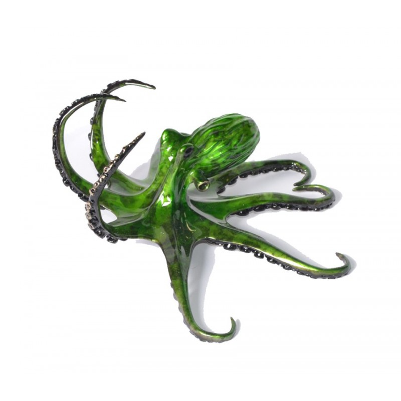 Emerald bronze octopus by Chris Barela