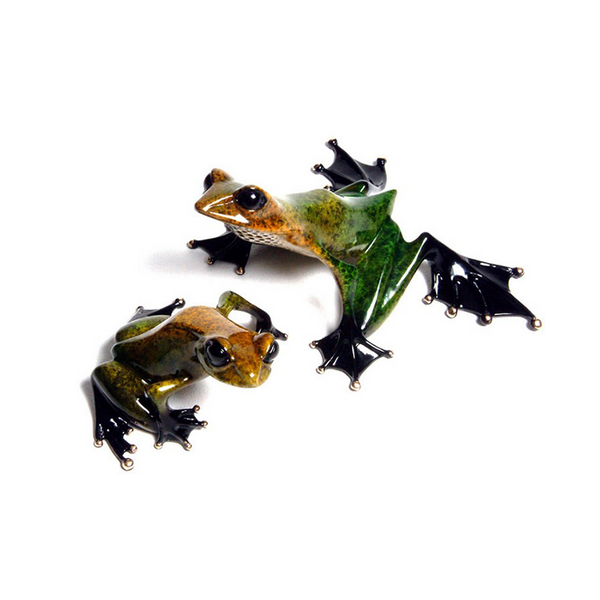 Emerald and Gem bronze frog set by Tim Cotterill