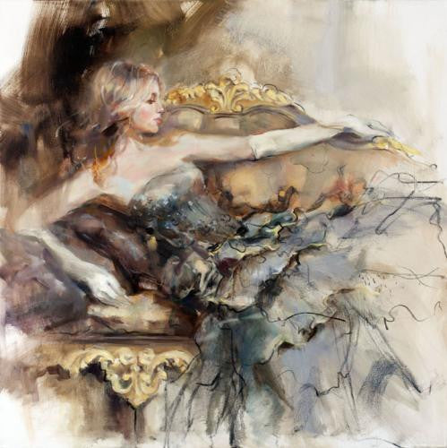 English Rose 2 Oil Painting by Anna Razumovskaya