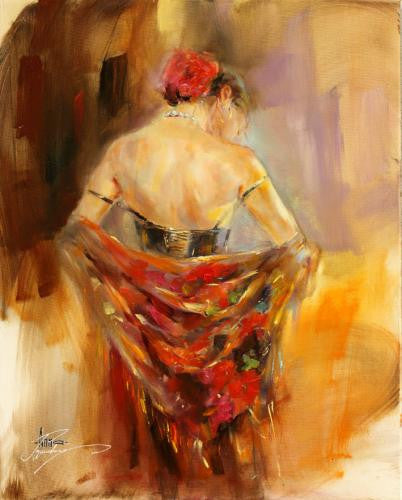Foulard Rouge 1 Oil Painting by Anna Razumovskaya