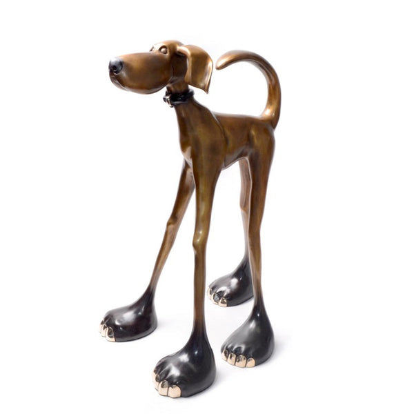 Half Stretch bronze dog by Marty Goldstein