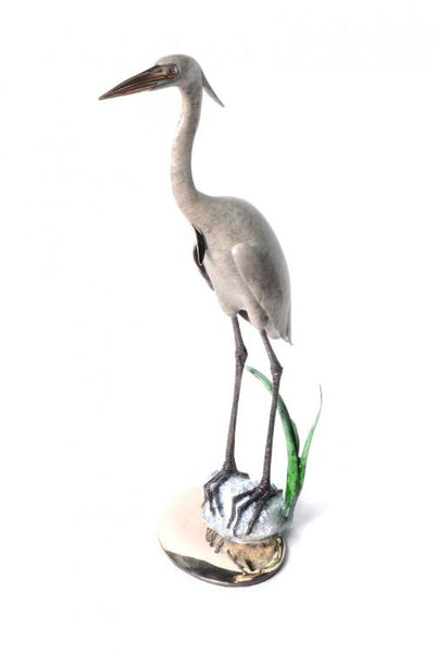 Heron in sea grass bronze by Brian Arthur