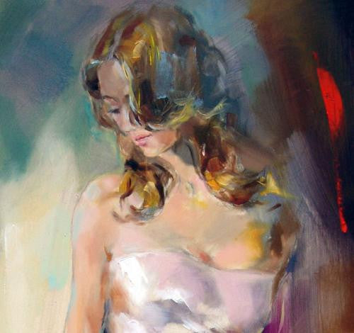Holding the Violing Oil Painting by Anna Razumovskaya