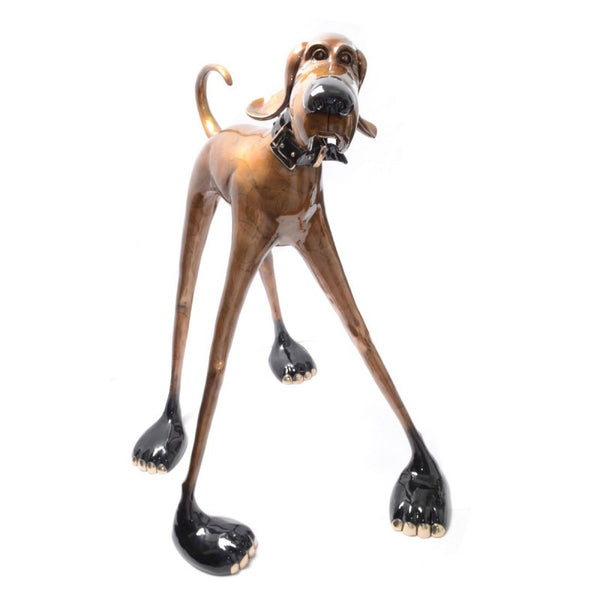 Middle Stretch bronze dog by Marty Goldstein