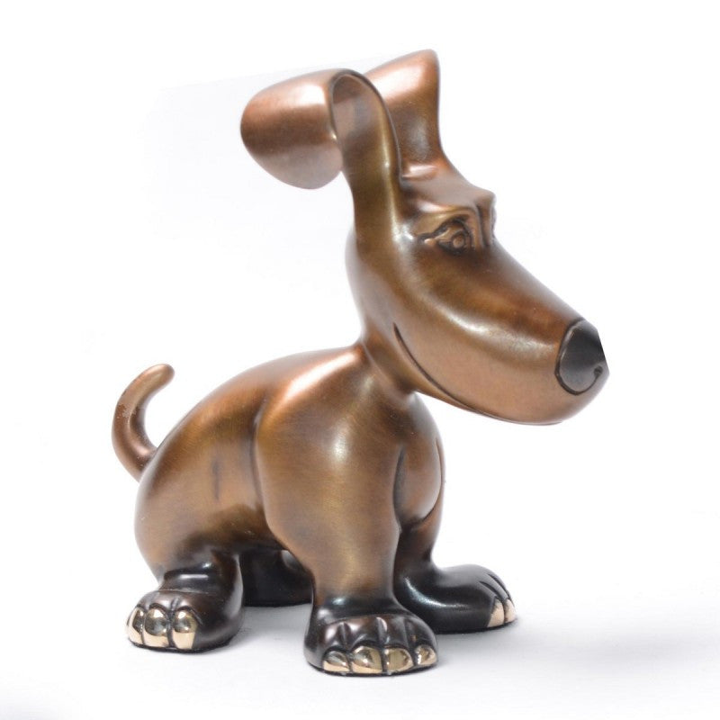 Mini Charlie bronze dog by Marty Goldstein