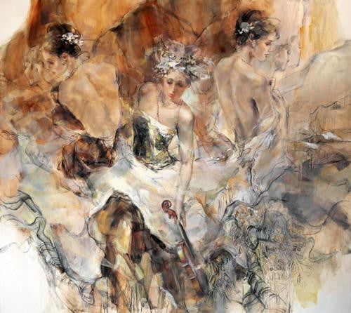 Past Present Future Sepia Oil Painting by Anna Razumovskaya