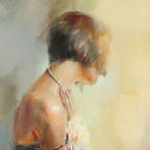 Pearl Necklace Oil Painting by Anna Razumovskaya