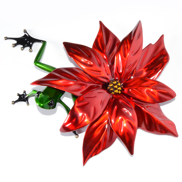 Poinsettia bronze frog by Tim Cotterill