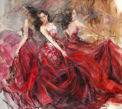 Red Tempo Oil Painting by Anna Razumovskaya