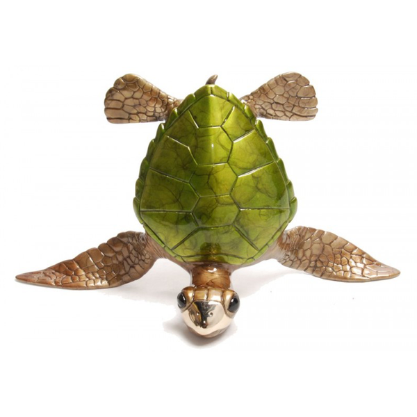Show Off Green bronze sea turtle sculpture by Chris Barela