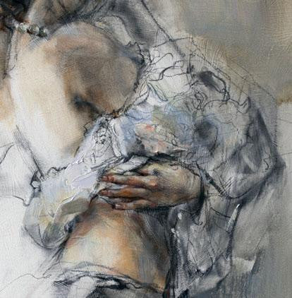 Silent Thoughts Sepia 2 Oil Painting by Anna Razumovskaya