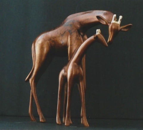 Small Giraffe Pair bronze by Loet Vanderveen