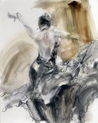 Spanish Heat Sepia 2 Oil Painting by Anna Razumovskaya