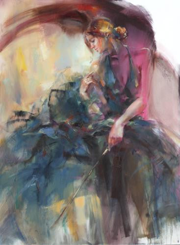 Teal Melody Oil Painting by Anna Razumovskaya