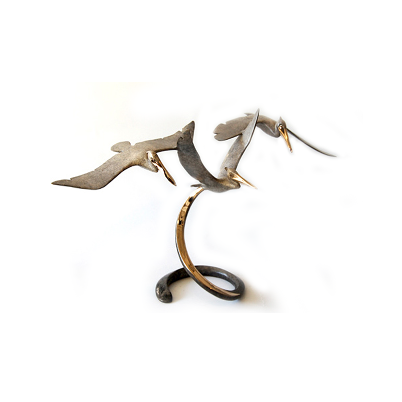 Triple Pelican Flight bronze by Brian Arthur