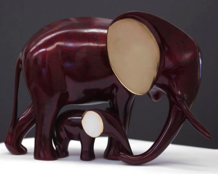 Elephant and Baby bronze by Loet Vanderveen