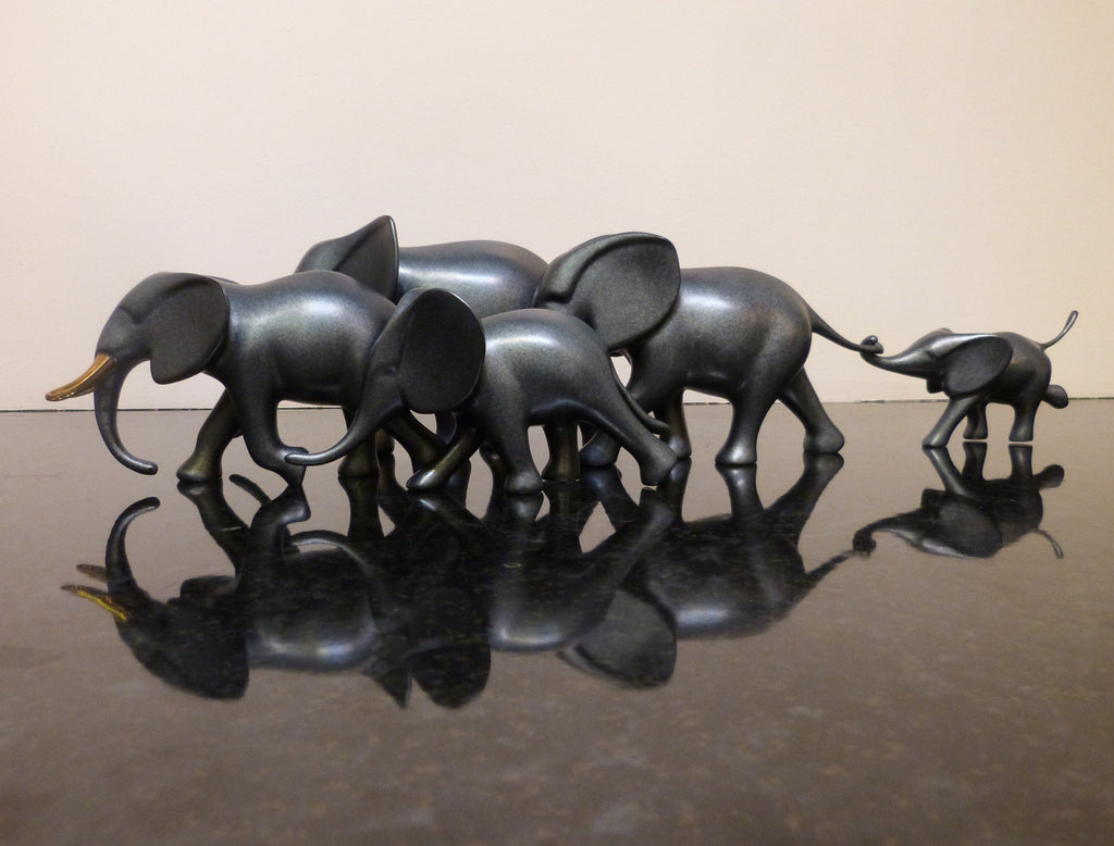 Elephants Five Running bronze by Loet Vanderveen
