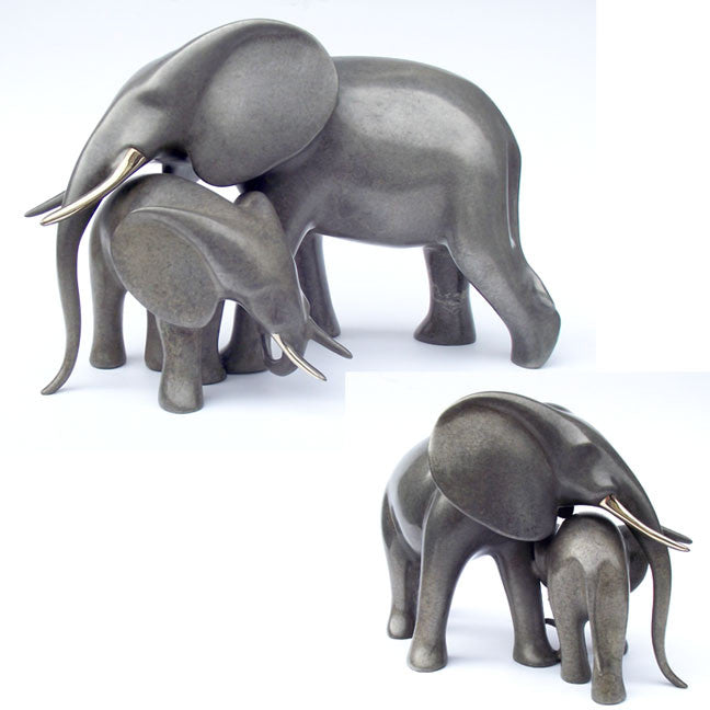 Elephants Tender bronze by Loet Vanderveen