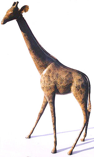 Imperial Giraffe polished mane and tail bronze by Loet Vanderveen